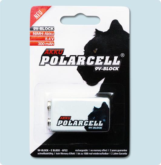 1x polarcell 9v block 6lr61 6f22 9 volt premium akku ebay. Black Bedroom Furniture Sets. Home Design Ideas